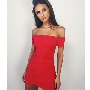 Off the Shoulder Bodycon Red Mini Dress S